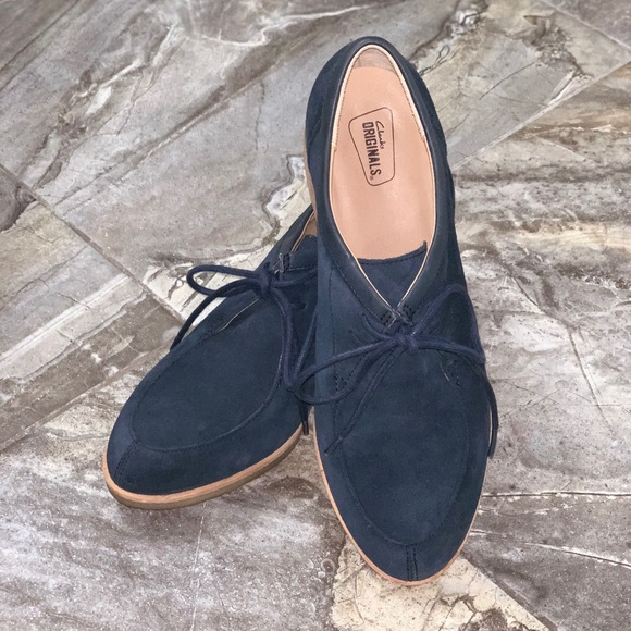 Womens Clarks Phenia Lace Up Navy Suede